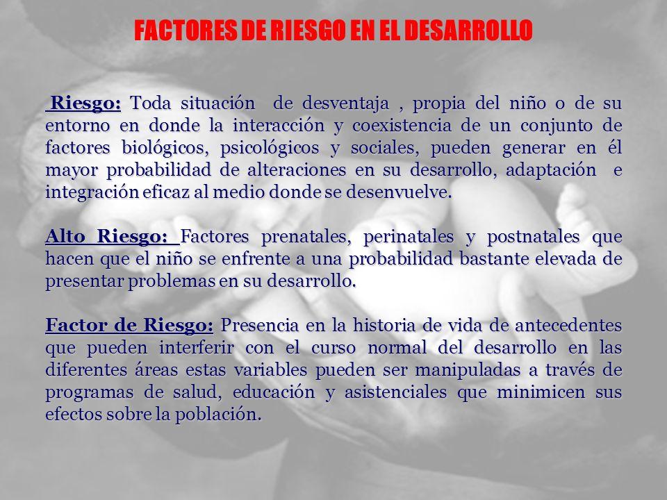 FACTORES DE RIESGO EN EL DESARROLLO Riesgo: Toda situación de desventaja, propia del niño o de su entorno en donde la interacción y coexistencia de un