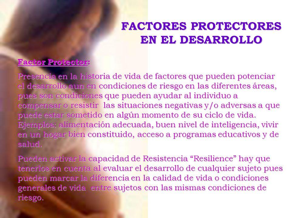 Factor Protector: Presencia en la historia de vida de factores que pueden potenciar el desarrollo aun en condiciones de riesgo en las diferentes áreas