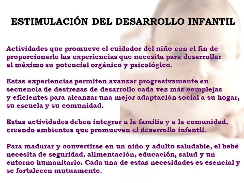 ESTIMULACIÓN DEL DESARROLLO INFANTIL Actividades que promueve el cuidador del niño con el fin de proporcionarle las experiencias que necesita para des