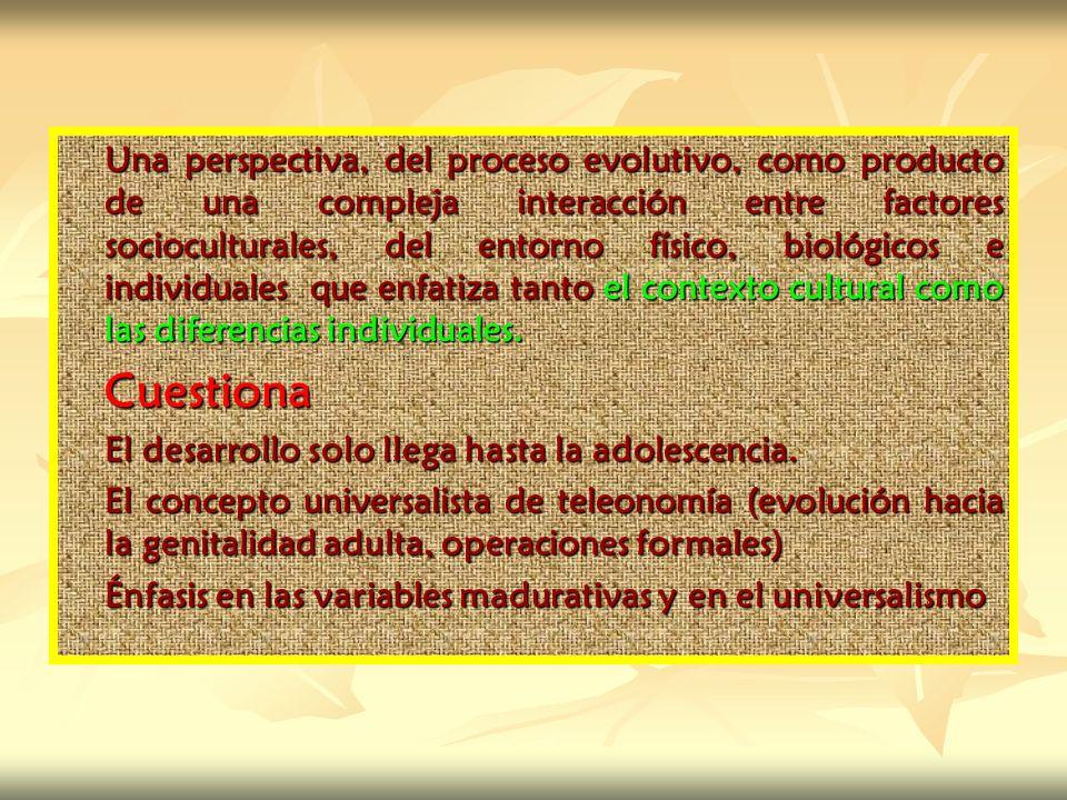 Una perspectiva, del proceso evolutivo, como producto de una compleja interacción entre factores socioculturales, del entorno físico, biológicos e ind