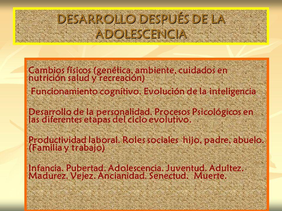DESARROLLO DESPUÉS DE LA ADOLESCENCIA Cambios físicos (genética, ambiente, cuidados en nutrición salud y recreación) Funcionamiento cognitivo. Evoluci