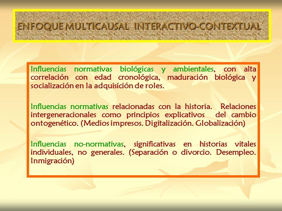 ENFOQUE MULTICAUSAL INTERACTIVO-CONTEXTUAL Influencias normativas biológicas y ambientales, con alta correlación con edad cronológica, maduración biol