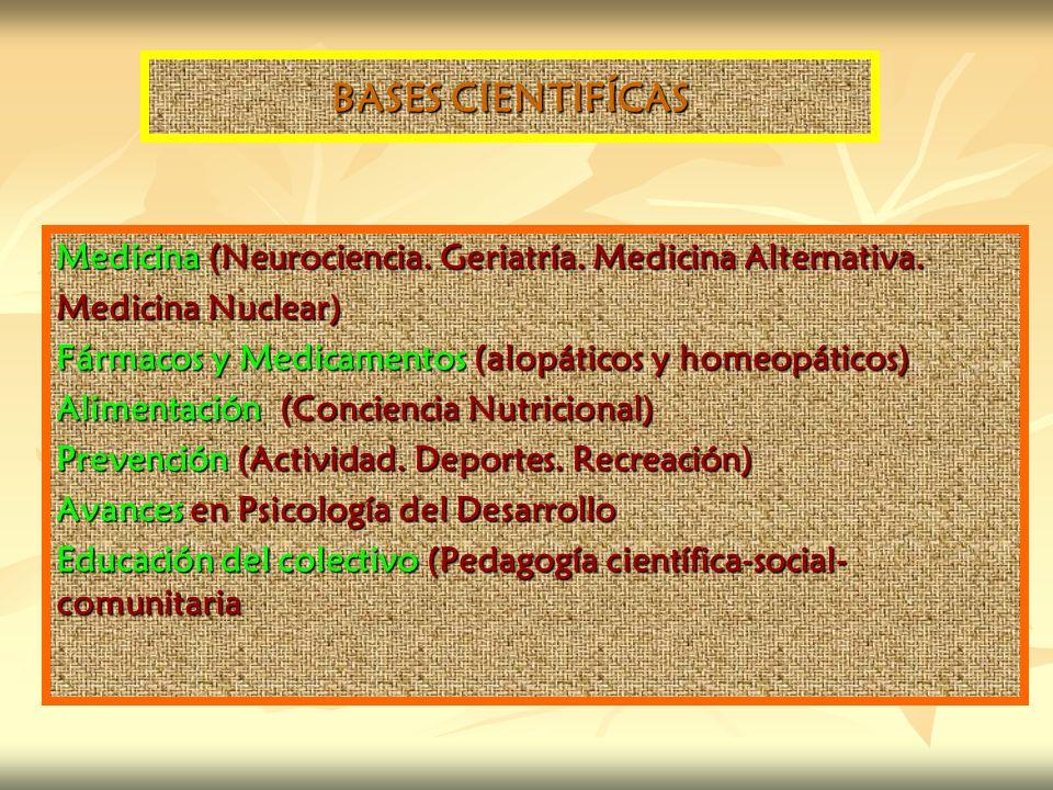 BASES CIENTIFÍCAS Medicina (Neurociencia. Geriatría. Medicina Alternativa. Medicina Nuclear) Fármacos y Medicamentos (alopáticos y homeopáticos) Alime