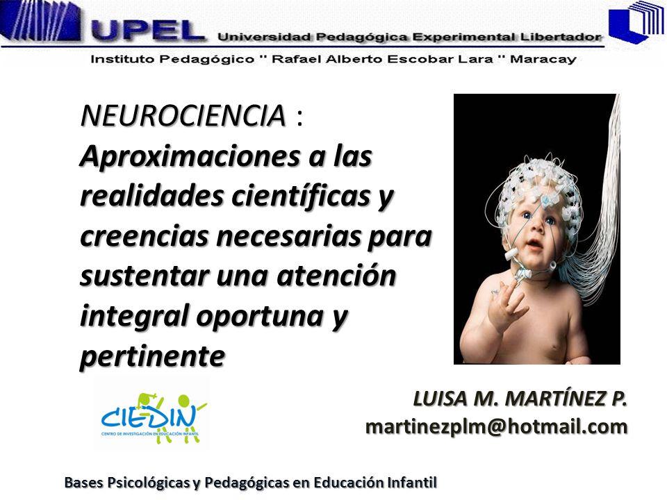 NEUROCIENCIA Aproximaciones a las realidades científicas y creencias necesarias para sustentar una atención integral oportuna y pertinente NEUROCIENCI
