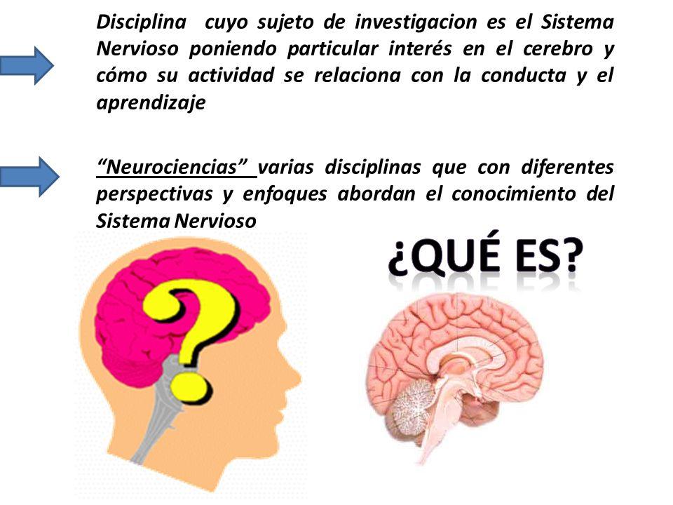 Disciplina cuyo sujeto de investigacion es el Sistema Nervioso poniendo particular interés en el cerebro y cómo su actividad se relaciona con la condu