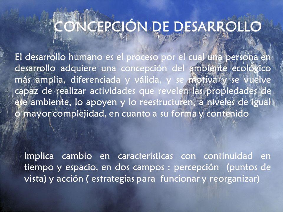 CONCEPCIÓN DE DESARROLLO El desarrollo humano es el proceso por el cual una persona en desarrollo adquiere una concepción del ambiente ecológico más a