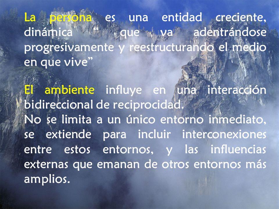 La persona es una entidad creciente, dinámica que va adentrándose progresivamente y reestructurando el medio en que vive El ambiente influye en una in