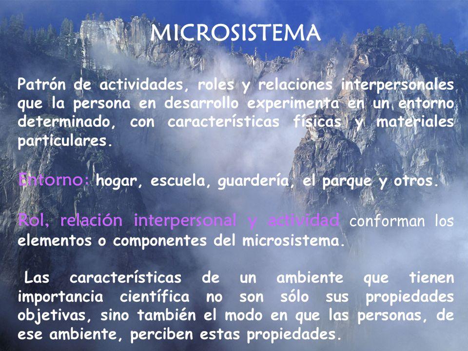 MICROSISTEMA Patrón de actividades, roles y relaciones interpersonales que la persona en desarrollo experimenta en un entorno determinado, con caracte