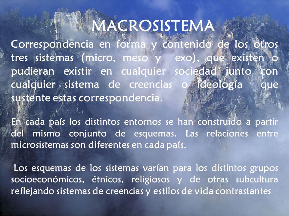 MACROSISTEMA Correspondencia en forma y contenido de los otros tres sistemas (micro, meso y exo), que existen o pudieran existir en cualquier sociedad