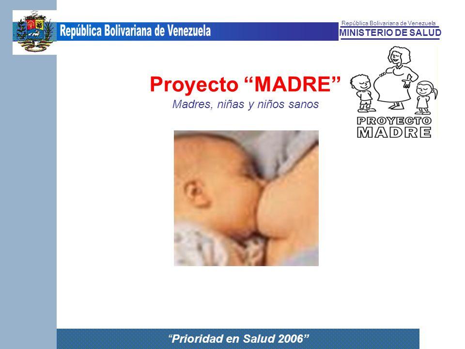 MINISTERIO DE SALUD República Bolivariana de Venezuela Prioridad en Salud 2006 Proyecto MADRE Madres, niñas y niños sanos Proyecto MADRE Madres, niñas
