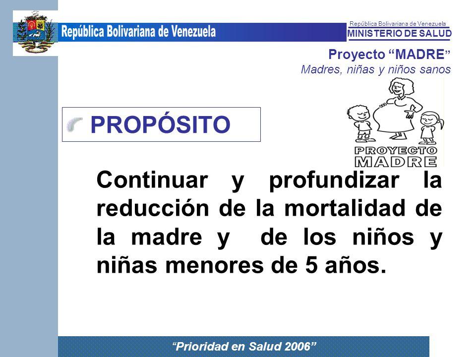 MINISTERIO DE SALUD República Bolivariana de Venezuela Prioridad en Salud 2006 Proyecto MADRE Madres, niñas y niños sanos PROPÓSITO Continuar y profun