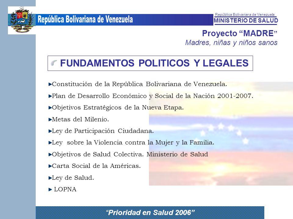 MINISTERIO DE SALUD República Bolivariana de Venezuela Prioridad en Salud 2006 Proyecto MADRE Madres, niñas y niños sanos FUNDAMENTOS POLITICOS Y LEGA