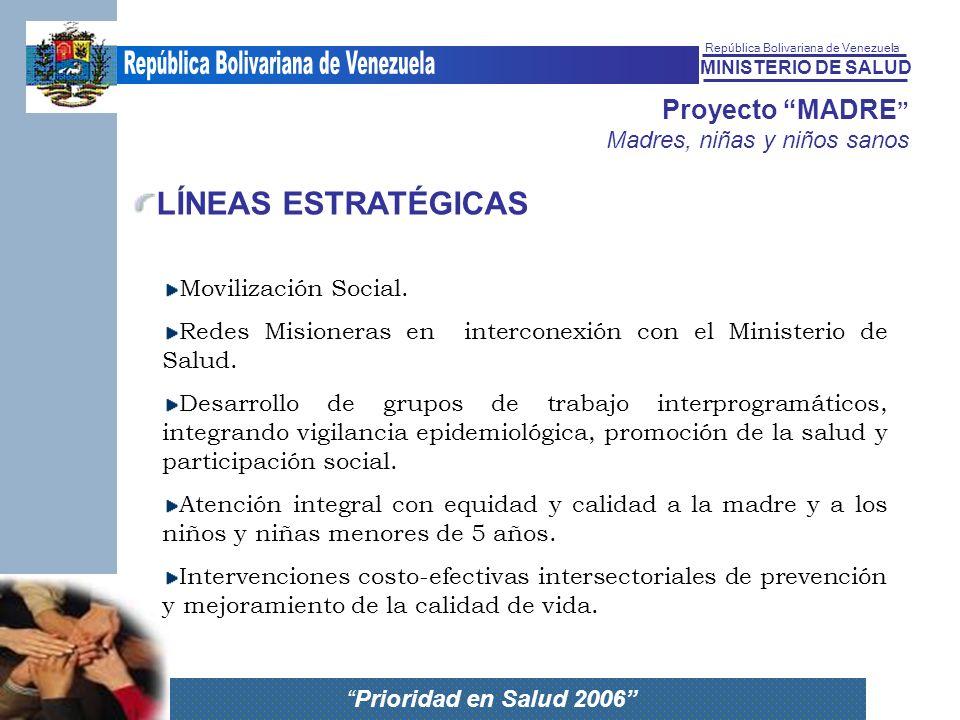 MINISTERIO DE SALUD República Bolivariana de Venezuela Prioridad en Salud 2006 Proyecto MADRE Madres, niñas y niños sanos LÍNEAS ESTRATÉGICAS Moviliza