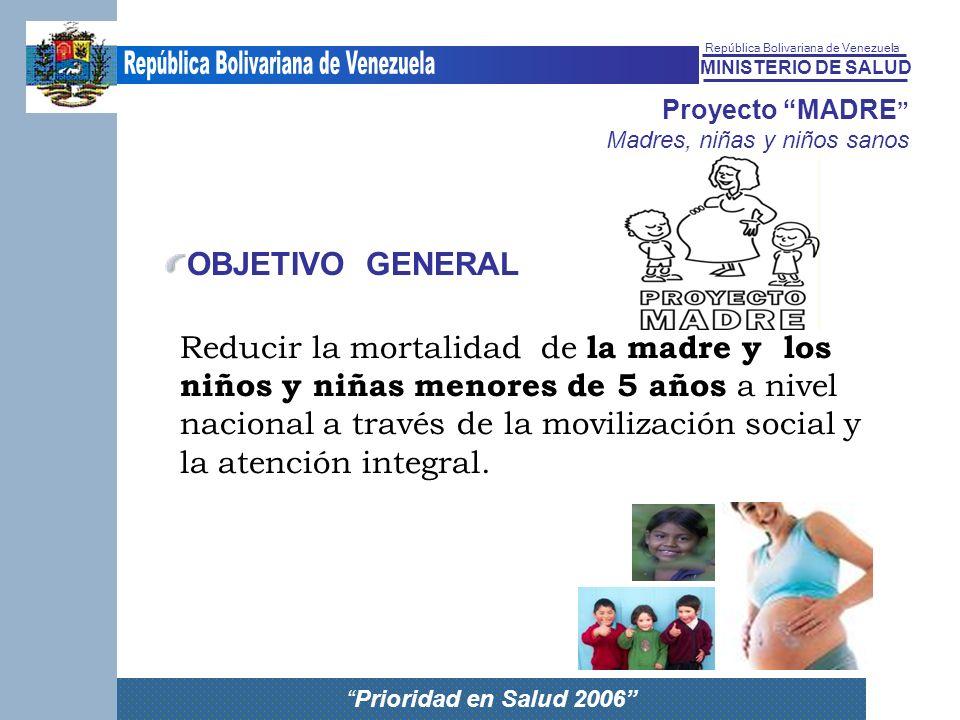 MINISTERIO DE SALUD República Bolivariana de Venezuela Prioridad en Salud 2006 Proyecto MADRE Madres, niñas y niños sanos Reducir la mortalidad de la