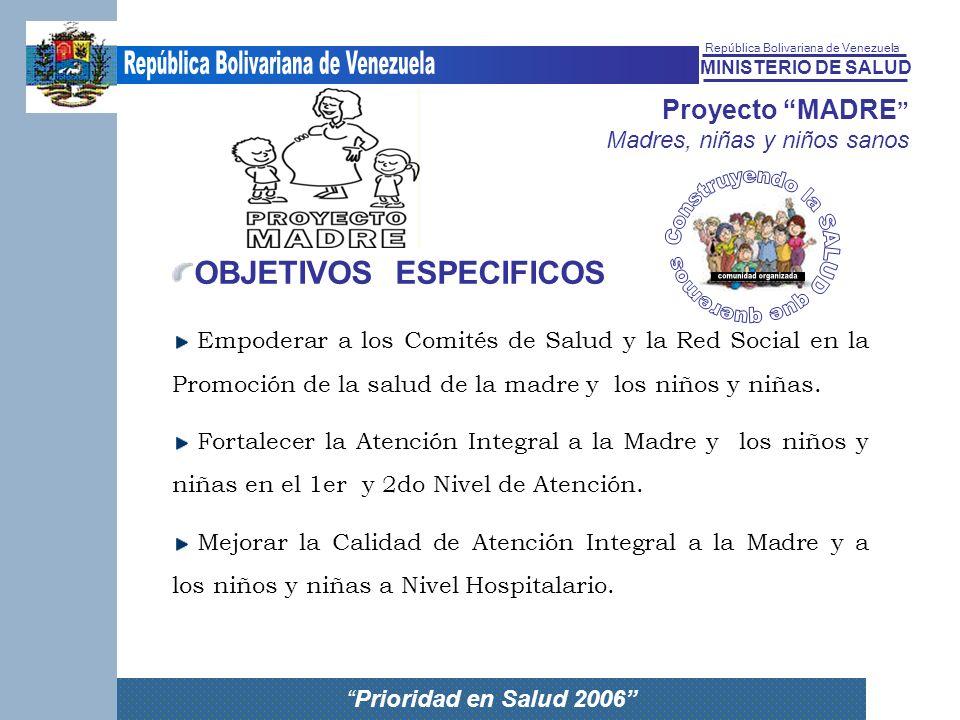 MINISTERIO DE SALUD República Bolivariana de Venezuela Prioridad en Salud 2006 Proyecto MADRE Madres, niñas y niños sanos OBJETIVOS ESPECIFICOS Empode