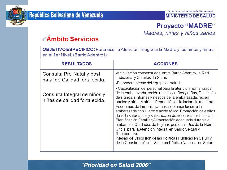 MINISTERIO DE SALUD República Bolivariana de Venezuela Prioridad en Salud 2006 Proyecto MADRE Madres, niñas y niños sanos Ámbito Servicios RESULTADOSA