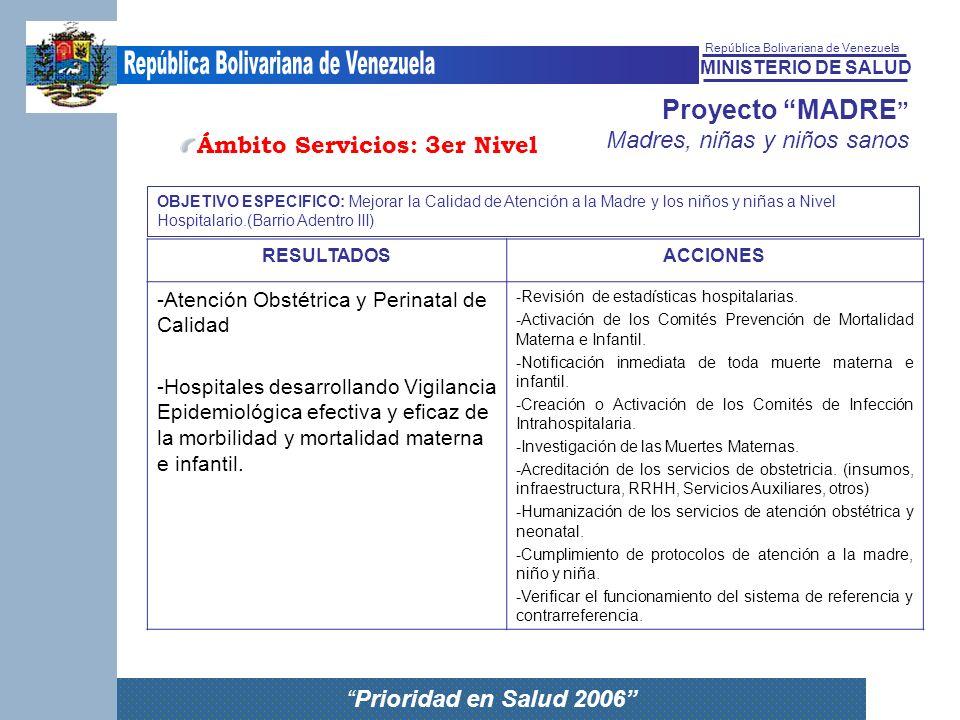 MINISTERIO DE SALUD República Bolivariana de Venezuela Prioridad en Salud 2006 Proyecto MADRE Madres, niñas y niños sanos RESULTADOSACCIONES -Atención