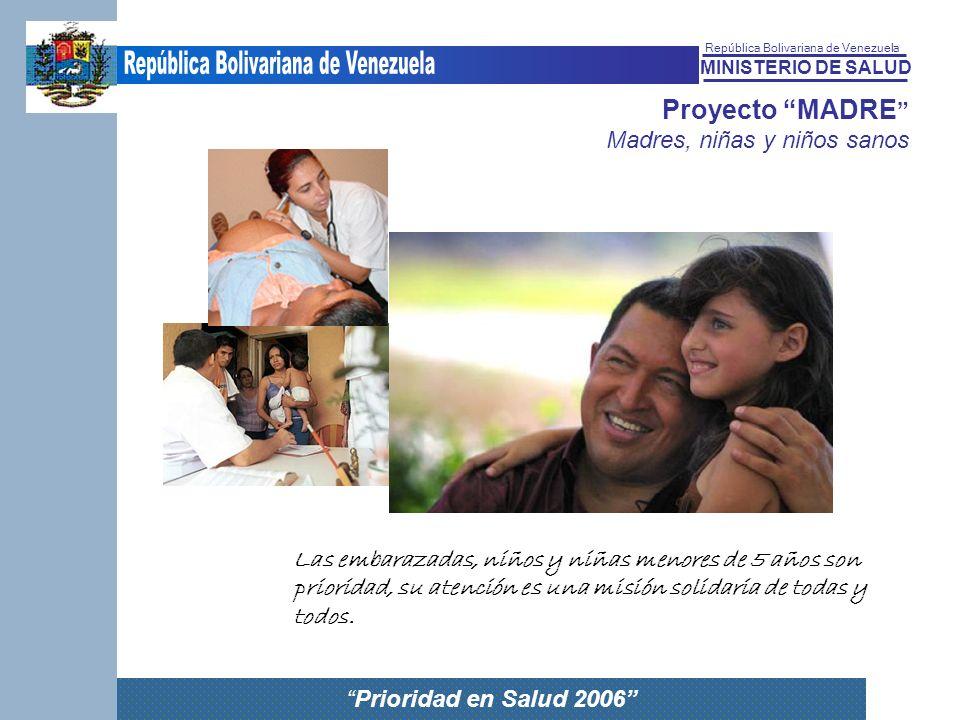 MINISTERIO DE SALUD República Bolivariana de Venezuela Prioridad en Salud 2006 Proyecto MADRE Madres, niñas y niños sanos Las embarazadas, niños y niñ