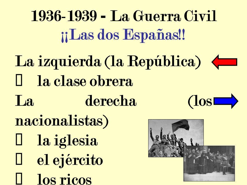 1936-1939 - La Guerra Civil La izquierda (la República) la clase obrera La derecha (los nacionalistas) la iglesia el ejército los ricos ¡¡Las dos Españas!!