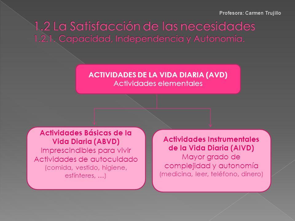 Capacidad : Competencia para desarrollar actividades y conductas. Favorece la adquisición de …. Independencia : capacidad de la persona de satisfacer