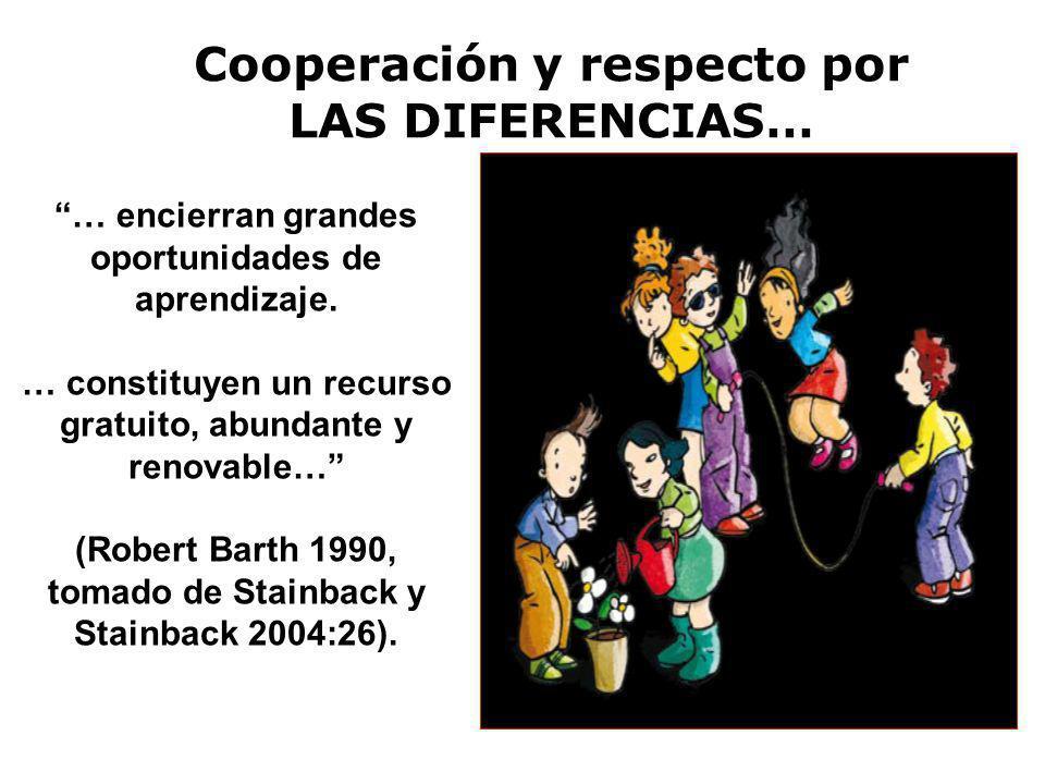 Cooperación y respecto por LAS DIFERENCIAS… … encierran grandes oportunidades de aprendizaje. … constituyen un recurso gratuito, abundante y renovable