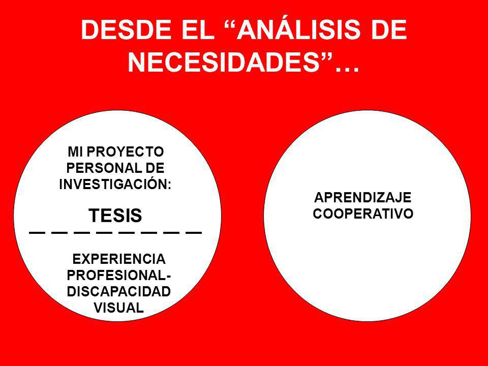 DESDE EL ANÁLISIS DE NECESIDADES… MI PROYECTO PERSONAL DE INVESTIGACIÓN: TESIS APRENDIZAJE COOPERATIVO EXPERIENCIA PROFESIONAL- DISCAPACIDAD VISUAL