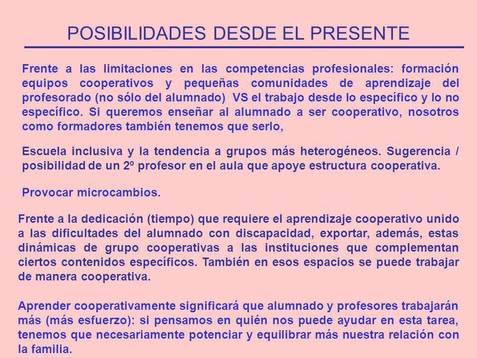 POSIBILIDADES DESDE EL PRESENTE Frente a las limitaciones en las competencias profesionales: formación equipos cooperativos y pequeñas comunidades de