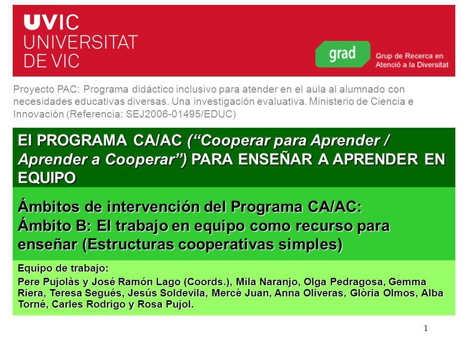 Programa CA/AC. Curs 2011-20121 El PROGRAMA CA/AC (Cooperar para Aprender / Aprender a Cooperar) PARA ENSEÑAR A APRENDER EN EQUIPO Proyecto PAC: Progr