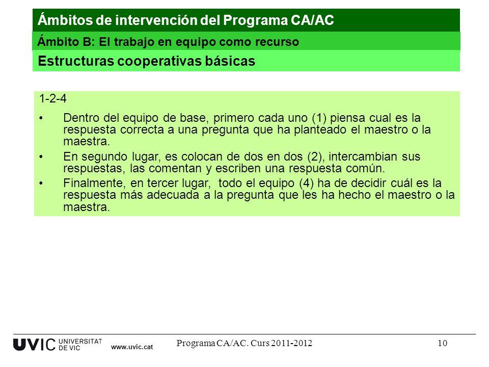 Programa CA/AC. Curs 2011-201210 www.uvic.cat Ámbitos de intervención del Programa CA/AC Ámbito B: El trabajo en equipo como recurso Estructuras coope