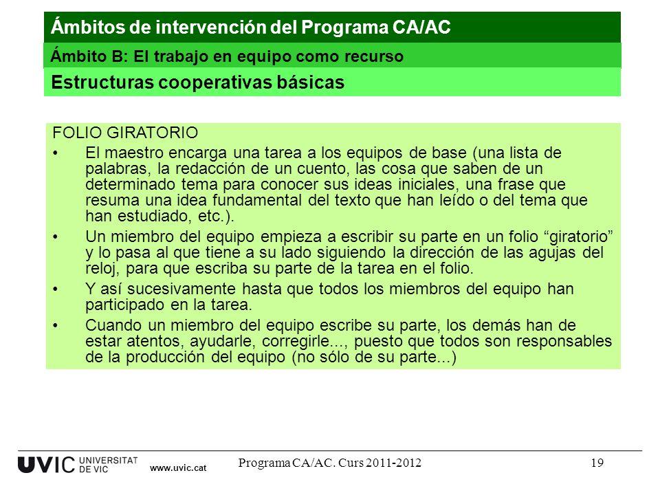 Programa CA/AC. Curs 2011-201219 www.uvic.cat Ámbitos de intervención del Programa CA/AC Ámbito B: El trabajo en equipo como recurso Estructuras coope