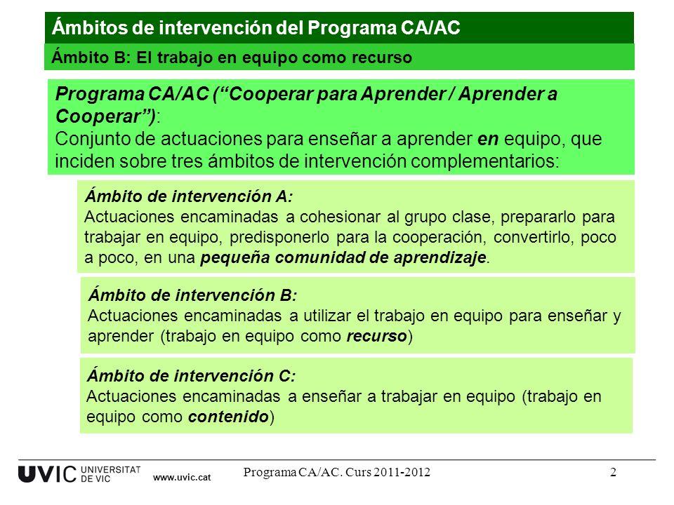 Programa CA/AC. Curs 2011-20122 www.uvic.cat Ámbitos de intervención del Programa CA/AC Ámbito B: El trabajo en equipo como recurso Programa CA/AC (Co