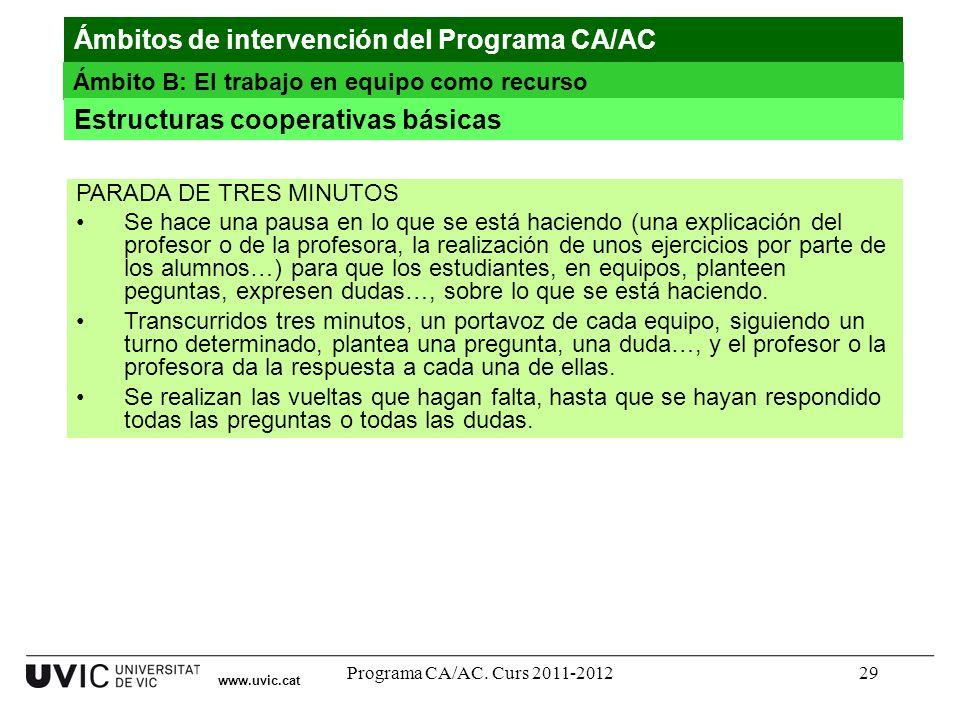 Programa CA/AC. Curs 2011-201229 www.uvic.cat Ámbitos de intervención del Programa CA/AC Ámbito B: El trabajo en equipo como recurso Estructuras coope