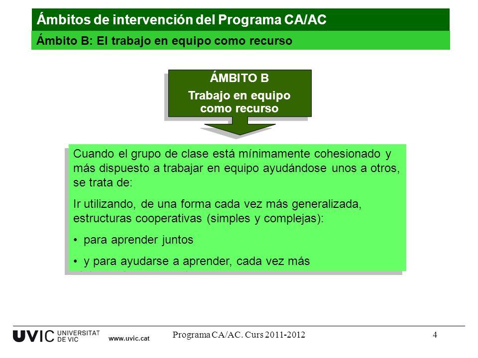 Programa CA/AC. Curs 2011-20124 www.uvic.cat Ámbitos de intervención del Programa CA/AC Ámbito B: El trabajo en equipo como recurso Cuando el grupo de