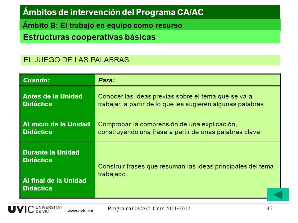 Programa CA/AC. Curs 2011-201247 www.uvic.cat Ámbitos de intervención del Programa CA/AC Ámbito B: El trabajo en equipo como recurso Estructuras coope