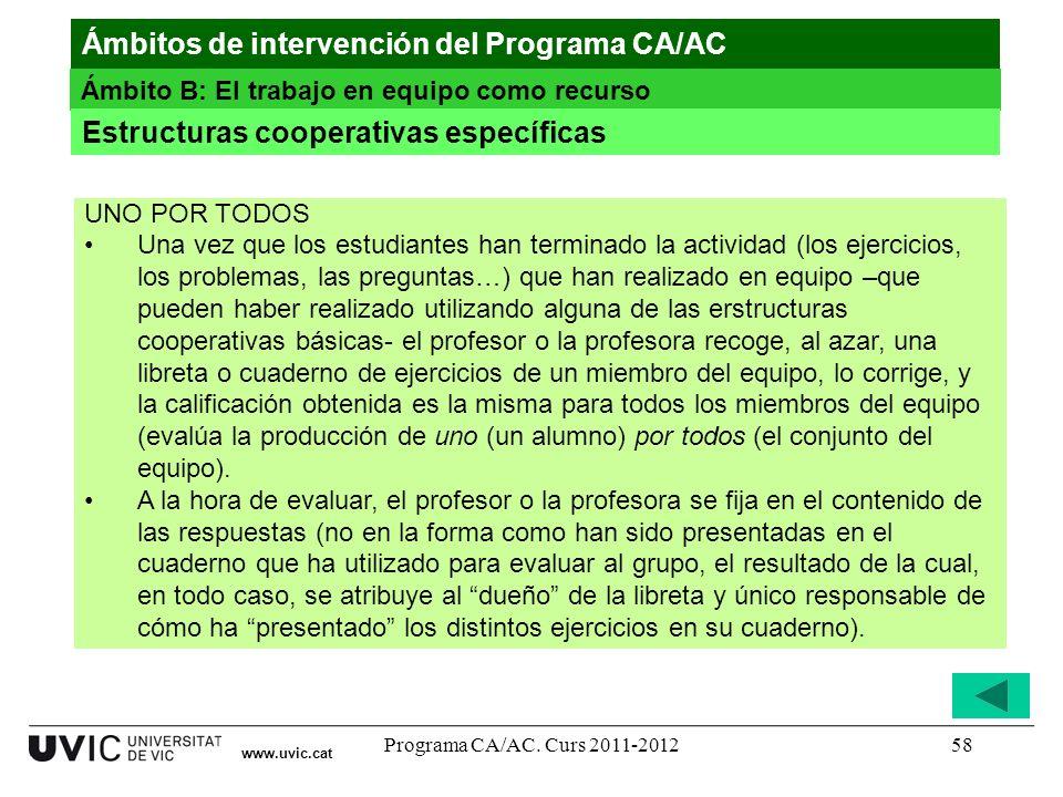 Programa CA/AC. Curs 2011-201258 www.uvic.cat Ámbitos de intervención del Programa CA/AC Ámbito B: El trabajo en equipo como recurso Estructuras coope