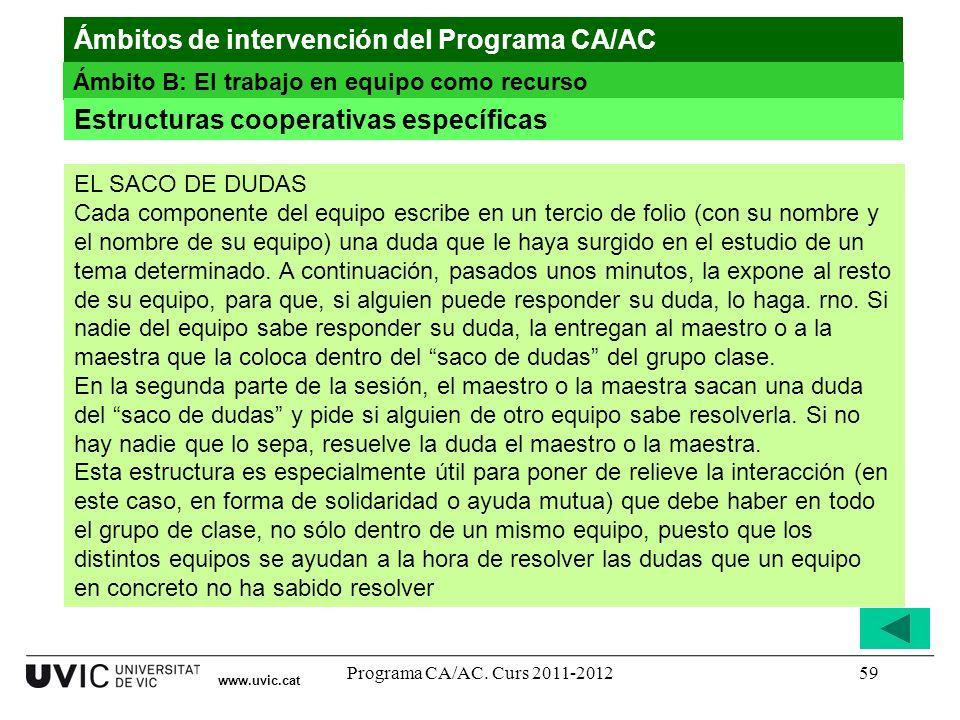 Programa CA/AC. Curs 2011-201259 www.uvic.cat Ámbitos de intervención del Programa CA/AC Ámbito B: El trabajo en equipo como recurso Estructuras coope