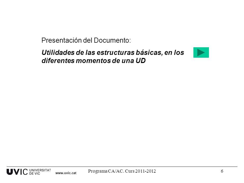 Programa CA/AC. Curs 2011-20126 Presentación del Documento: Utilidades de las estructuras básicas, en los diferentes momentos de una UD www.uvic.cat