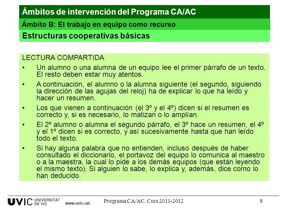 Programa CA/AC. Curs 2011-20128 Estructuras cooperativas básicas www.uvic.cat Ámbitos de intervención del Programa CA/AC Ámbito B: El trabajo en equip