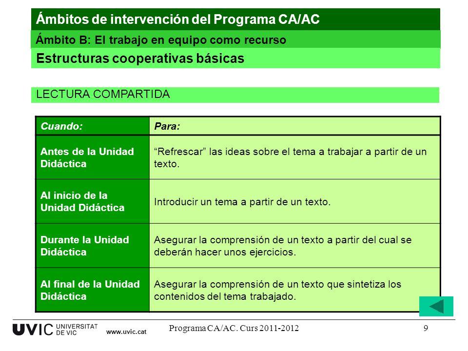 Programa CA/AC. Curs 2011-20129 www.uvic.cat Ámbitos de intervención del Programa CA/AC Ámbito B: El trabajo en equipo como recurso Estructuras cooper