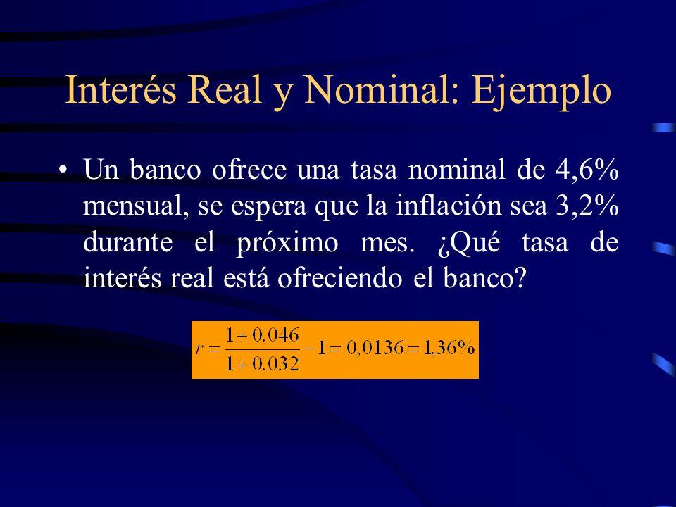 Interés Real y Nominal: Ejemplo Un banco ofrece una tasa nominal de 4,6% mensual, se espera que la inflación sea 3,2% durante el próximo mes. ¿Qué tas