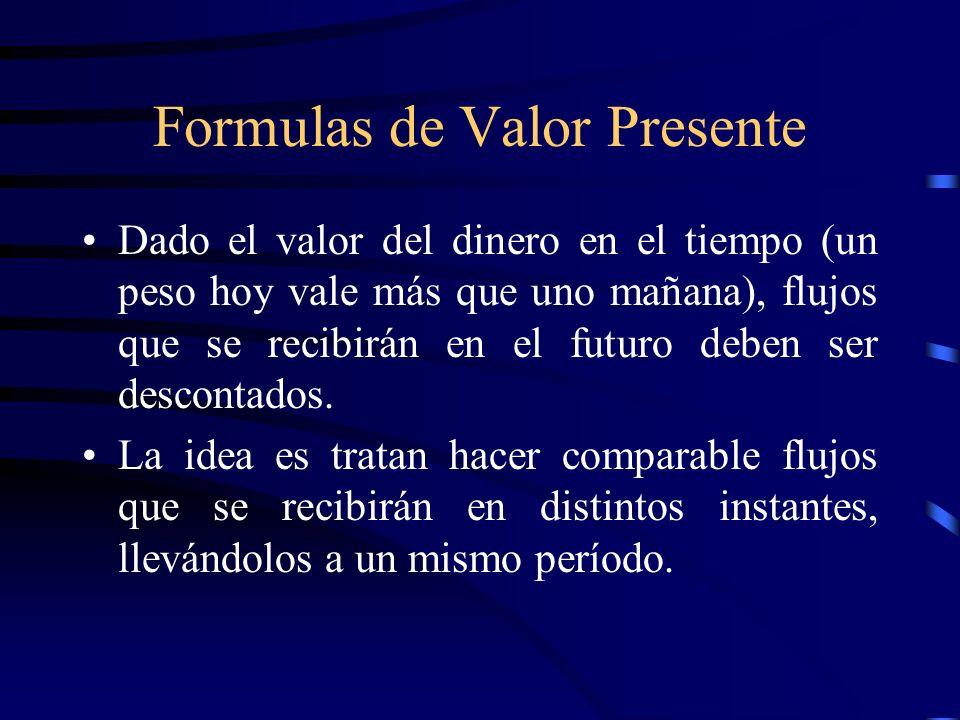 Formulas de Valor Presente Dado el valor del dinero en el tiempo (un peso hoy vale más que uno mañana), flujos que se recibirán en el futuro deben ser