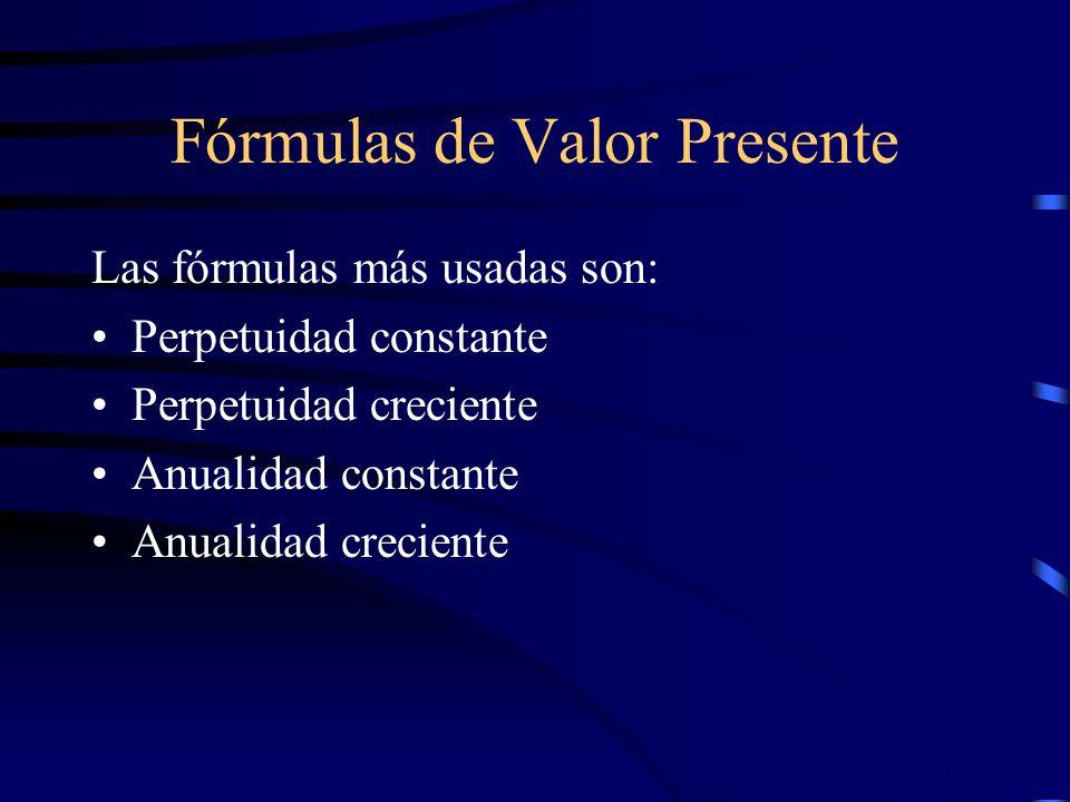 Fórmulas de Valor Presente Las fórmulas más usadas son: Perpetuidad constante Perpetuidad creciente Anualidad constante Anualidad creciente