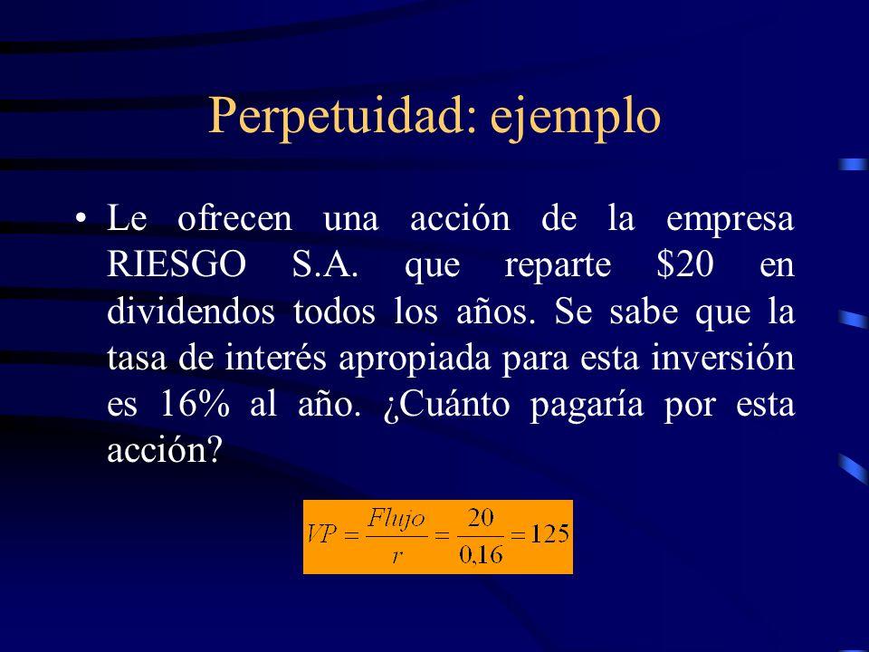 Perpetuidad: ejemplo Le ofrecen una acción de la empresa RIESGO S.A. que reparte $20 en dividendos todos los años. Se sabe que la tasa de interés apro