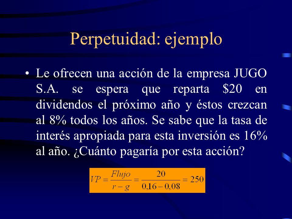 Perpetuidad: ejemplo Le ofrecen una acción de la empresa JUGO S.A. se espera que reparta $20 en dividendos el próximo año y éstos crezcan al 8% todos