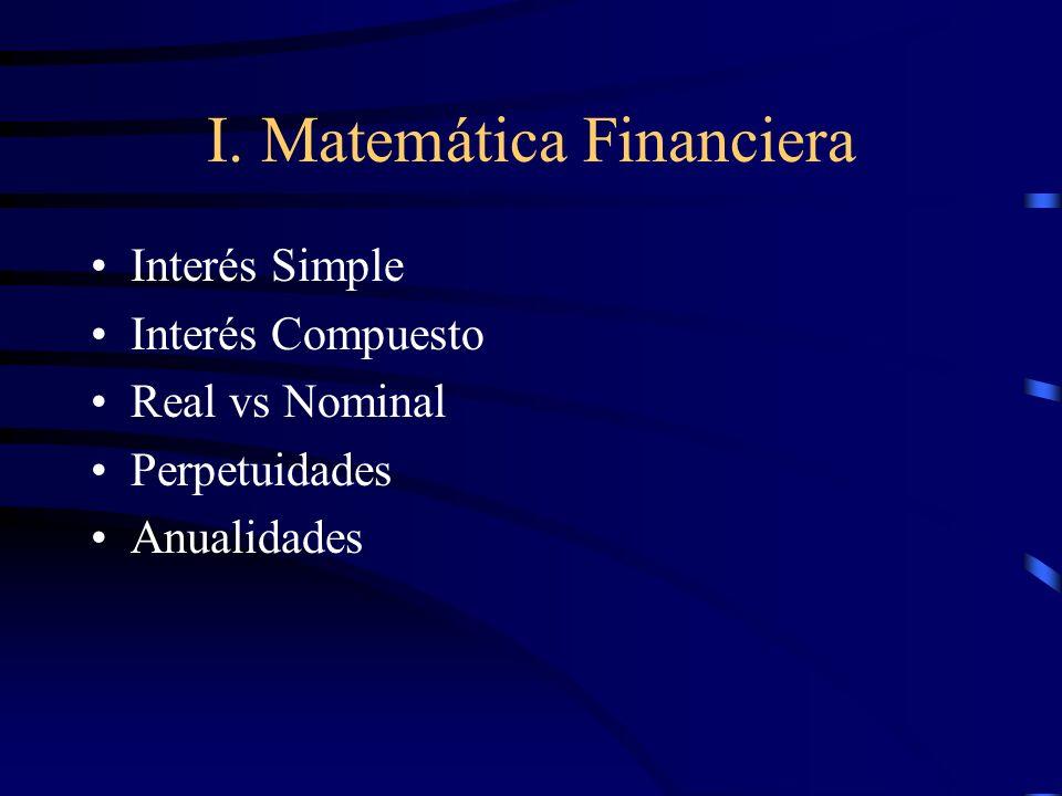 I. Matemática Financiera Interés Simple Interés Compuesto Real vs Nominal Perpetuidades Anualidades