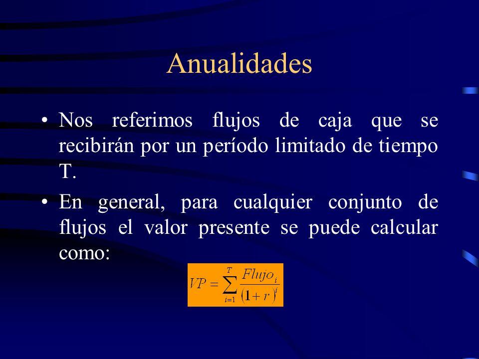 Anualidades Nos referimos flujos de caja que se recibirán por un período limitado de tiempo T. En general, para cualquier conjunto de flujos el valor