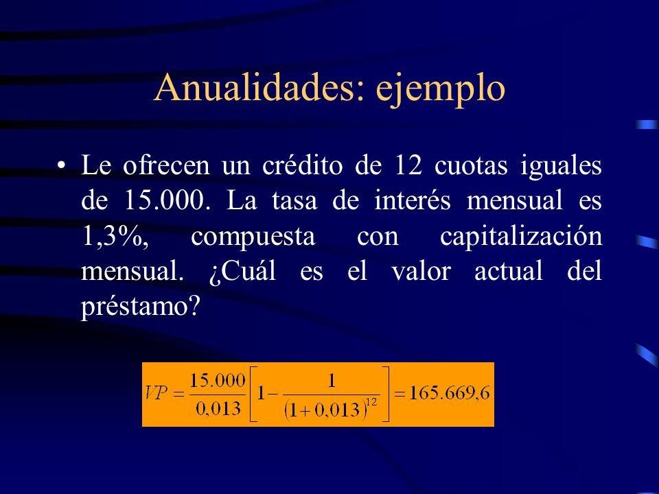 Anualidades: ejemplo Le ofrecen un crédito de 12 cuotas iguales de 15.000. La tasa de interés mensual es 1,3%, compuesta con capitalización mensual. ¿