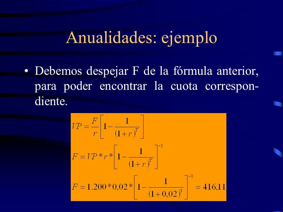 Anualidades: ejemplo Debemos despejar F de la fórmula anterior, para poder encontrar la cuota correspon- diente.