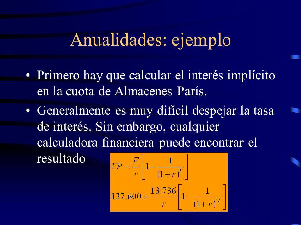 Anualidades: ejemplo Primero hay que calcular el interés implícito en la cuota de Almacenes París. Generalmente es muy difícil despejar la tasa de int