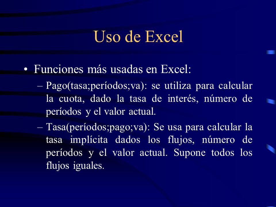 Uso de Excel Funciones más usadas en Excel: –Pago(tasa;períodos;va): se utiliza para calcular la cuota, dado la tasa de interés, número de períodos y